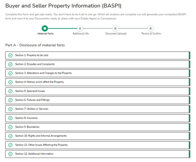 Picture image of the BASPI form Part 1 Material Facts Home Buying and selling group twindig anthony codling