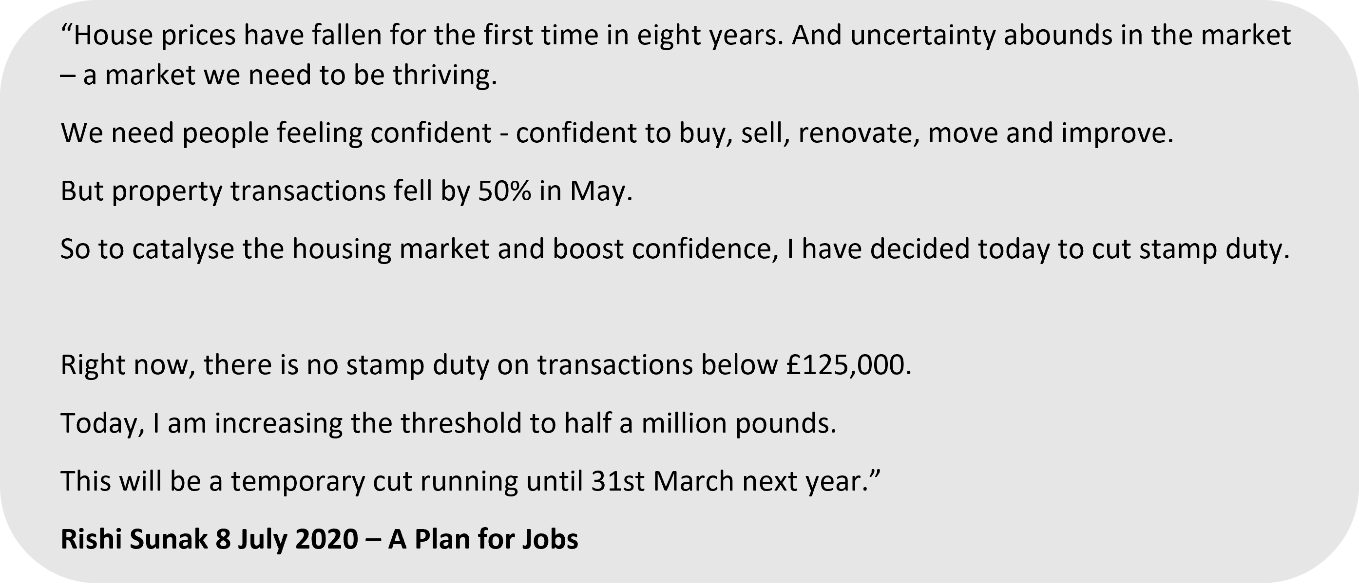 Rishi Sunak Stamp Duty holiday tax Cut A Plan for Jobs Twindig anthony codling