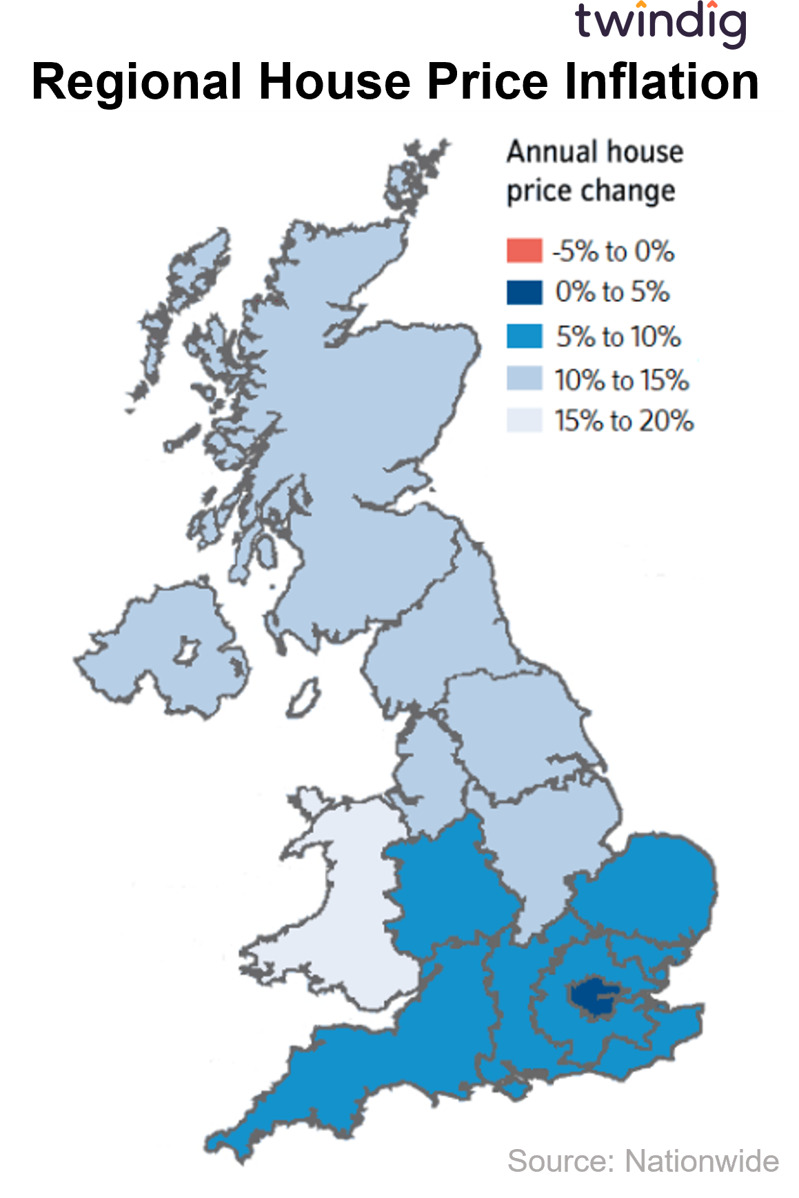 Picture of regional house price inflation across the UK twindig anthony codling