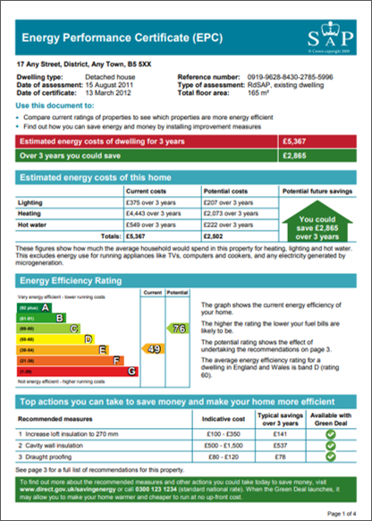 Image of Energy Performance Certificate (EPC) page 1 of 4 twindig anthony codling