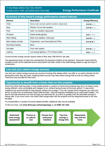 Image of Energy Performance Certificate EPC page 2 twindig anthony codling